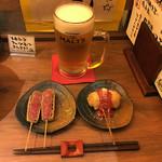 揚旬 - 生ビール、ステーキ串、ナポリタン