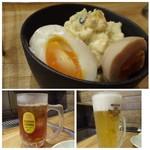 炭火焼肉のバクロ - ◆半熟ポテサラ(580円)半熟卵が美味しいですね。ポテトの味わいは普通。。◆生ビール(480円) ◆私は「黒烏龍茶(100円)