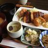 青地 - 料理写真:ランチの味噌かつ&エビクリームコロッケ1060円税込