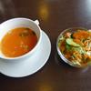 インド・アジア料理 ポカラ - 料理写真:ポークカレー(860円)_スープ&サラダ_2017-03-15