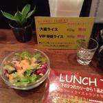 ヤミツキカリー - 初めに出るランチサラダとライス増量の説明書き