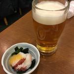 いろは寿司 - 生ビール お通し