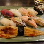 のと前回転寿司 - 旬の地物にぎり1550円