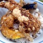 神田天丼家 - 海老3尾、海苔、カボチャの天ぷら