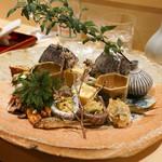 64379454 - 琵琶湖のもろこ、蛍烏賊、アナゴ、庄内麩とチーズ、湯葉、イイダコ、ふきのとう