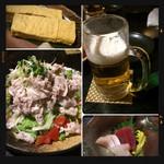 64471745 - 出汁巻き・生ビール・豚しゃぶサラダ・刺身盛り