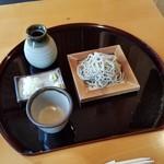 手打蕎麦 一澤 - 「五色蕎麦 (2100円)」の開始。 お蕎麦は一つずつ出てきます