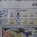 64510141 - 塩系メニュー麺量案内