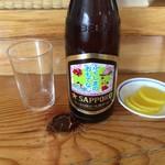 あずま食堂 - ドリンク写真:瓶ビールとお通しのお新香