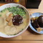 三徳らーめん - 料理写真:【らーめん 450円】と【味噌おでん(大根・スジ) 各90円】