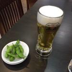 中華料理紅蘭 - 生ビールとお通しの枝豆