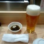 つきぢ神楽寿司 - 生ビール:430円、お通し:320円