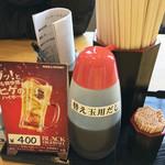 らーめん屋 鳳凛 - 卓上の調味料は、替玉用の調味ダレのみです。
