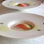 サン・マキアージュ - あずきのムース、 イチゴのシャーベット、 抹茶のパウダー