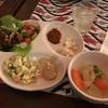 Bab-ul Hayat - 料理写真:サラダ系、キャベツミックス、大根ミックス、ひよこ豆のサラダ。ゴマペースト、レーズン豆のサラダと野菜煮込み、グリーンライムジュース