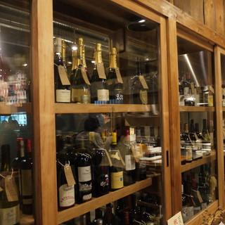 ビストロならではのワインの品ぞろえ