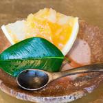 白金台こばやし - 美味すぎてとろけた、土佐文旦、タロッコオレンジ、黄金柑のゼリー。いつもプリンということで、料理長が作ってくれました(≧∇≦)この細やかな気遣い!