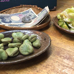 まつ惣 - 春野菜の浅漬け そら豆の塩茹で