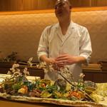 65225863 - 八寸:稚鮎 蛍烏賊の燻製炙り 蕗の薹の天ぷら 筍の白和え 飯蛸、トリュフの香り 庄内麩のチーズ挟み 鯛の子 鮒寿司1