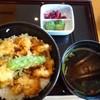 京ぜん - 料理写真:◆小海老と貝柱のかき揚げ丼(1290円:税込)、赤だし、香の物付。 ご飯は半分にして頂きました。