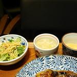 中国菜エスサワダ - 本日のスープ、グリーンサラダ、杏仁豆腐