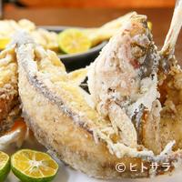 浜の家 - 魚丸ごと召し上がれ『あげ魚定食』 (一例 ぐるくん揚げ)