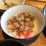 風鈴屋 - 皿そばランチ950円のミニ豚丼に小柱で味変