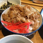 風鈴屋 - 皿そばランチ950円のミニ豚丼