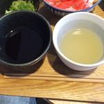 風鈴屋 - 皿そばランチ950円普通の出汁と生姜鶏出汁