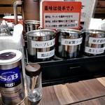 市松 - 卓上に常備された調味料類