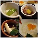 四季彩家 ろく - ◆左上・・高野豆腐の煮物。 ◆右上・・ホタルイカの酢味噌掛け。これは酢味噌の味わいもよく好み。 ◆左下・・あげ巻貝の酢の物。 ◆右下・・山芋素麺。ポン酢和えでしょうか。 美味しいのですが酢の物3品ではなく、お味代わりの品が入ってもいいように思いますけれど。