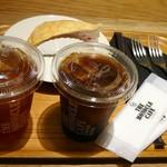 モノクル カフェ - 木苺のミルクレープ 650円 & アイスコーヒー 280円 & アイスティー 480円