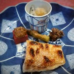 陶然亭 - 焼魚  甘鯛、近江こんにゃくフキ味噌、たらの芽天ぷら、蛍イカ叩き