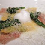 リストランテ ドゥエ フィオーリ - 菜の花とモッツァレラのメッツァルーナ 生ハム ミルクの泡