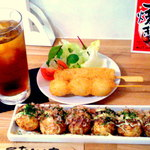Takoyaki Dining Katsu!! - ソースマヨたこ焼き¥420&豚串¥120&うずら串¥120&ウーロン茶¥250