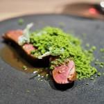 Crony - 料理写真:ランド産鳩のロースト ジュのソース 蓬のオイル 蓬のベニエ