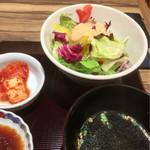 肉匠 太平楽 - サラダ、スープ、キムチ