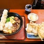 はんげしょう - 肉ちくわ天ぶっかけ & トッピング(鶏天ぷら、半熟玉子天ぷら)