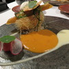 Vel  ROsier - 料理写真:1704_Vel ROsier_メイン①(魚) 海老 乾焼 ホワイトアスパラ 桜海老 陸鹿尾奈 豆 トマト 蕎麦の実