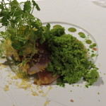 Vel  ROsier - 1704_Vel ROsier_前菜③ 鰹 いくら アスパラ ベーコン レタス パルミジャーノ_レタスのシャーベットが綺麗な緑の雪化粧