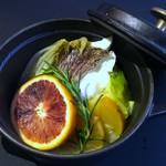 クラゲストア - 真鯛の柑橘蒸し 2200円(税抜)