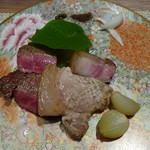 旬熟成 GINZA GRILL - 熟成但馬牛のシキンボウ、熟成赤城豚ロース