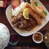 フルカワ食堂2 - 料理写真:ハーフ&ハーフ定食(焼き肉&天とり)