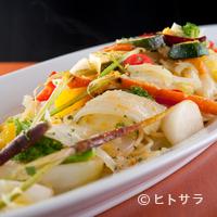 7丁目キッチン shiro - 南会津の農家から仕入れた野菜とカラスミとのハーモニー『有機野菜とカラスミのスパゲティー』