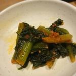 66036282 - 野沢菜のキムチみたいなのご自由にどうぞ!って置かれてました♪                 辛かったけど、美味しかった♪