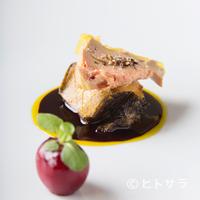 ル・ミロワール - 色々な風味が最高のハーモニーを紡ぎだす『鮑のポワレ フォアグラのテリーヌ ダークチェリー風味』