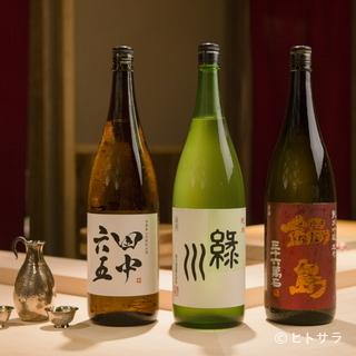 ゲストの好みに寄り添うべく、多彩なタイプの日本酒を用意