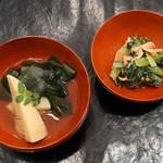 66096624 - 桜エビと小松菜の和え物、若竹煮