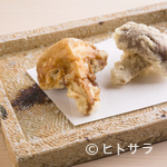 蕎ノ字 - 蕎麦つゆに使うかえしと、塩の2種で味わう『玉取茸』