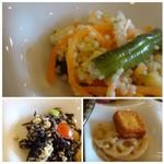 kawara CAFE&DINING -FORWARD- - ◆クスクスのサラダ・・お酢を使用したサッパリした味わい。 ◆アラメとお豆腐の和えもの・・これも薄味。 ◆一口サイズのお揚げの煮物と蓮根金平・・金平は程よいピリ辛感がありました。